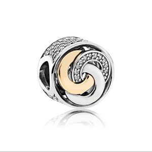 Authentic Pandora Interlinked Circles Charm w/gold